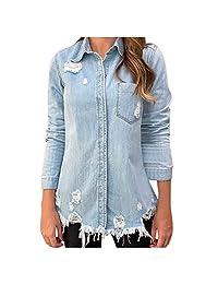 VEZAD Store Denim Jacket Women Boyfriend Ripped Biker Casual Long Jean Coats Outerwear