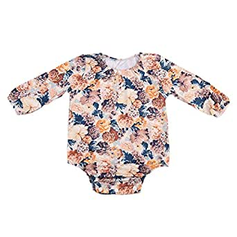 6a9cd585726 BiggerStore Infant Baby Girls Long Sleeve Lace Floral Romper Bodysuit  Outfit Clothes (0-6