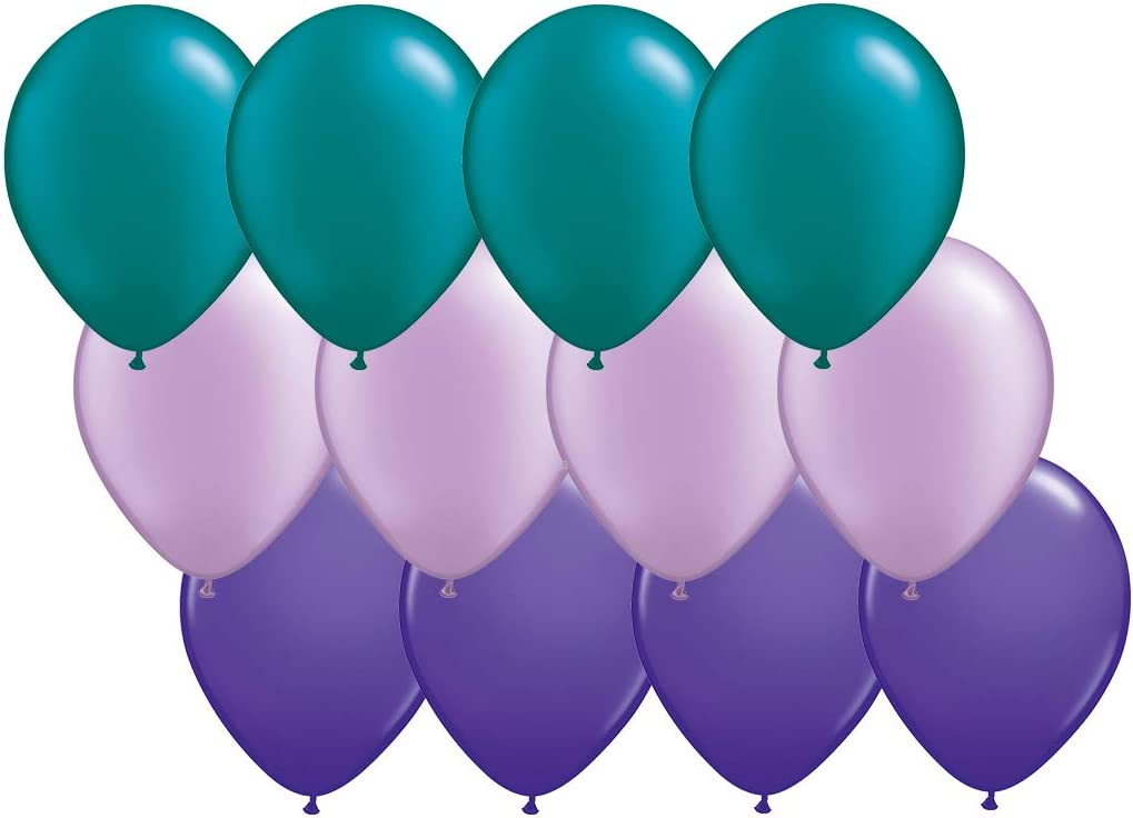 Andaz Press 11-inch Latex Balloon Trio Party Kit with Gold Cards & Gifts Sign, Aqua, Lavender and Purple, 12-pk, Mermaid Birthday Decorations