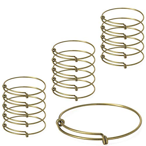 Yumei Jewelry Antique Bronze Adjustable Wire Blank Bangle Bracelet for Womens DIY Jewelry Making,2.4 Inch