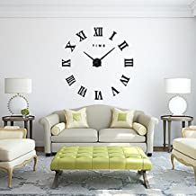 DIY Wall Clock, Lance Home Modern 3D Frameless Large Roman Numbers Wall Clock Art Decor Stickers Watches DIY Room Home Decorations for Office Living Room Bedroom- Black