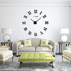 Wall Clock, Lance Home Large Roman Numbers Wall Clock Art Stickers Watches for Office Living Room Bedroom- Black