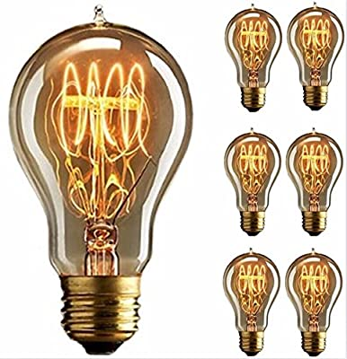 Edison Bulb, FadimiKoo Vintage Bulb 110v 60W Dimmable A19 Squirrel Cage Filament Edison Lihgt Bulb For Home Light Fixtures Decorative, Pack of 6