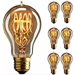Edison Bulb, FadimiKoo Vintage Bulb 110v 60W Dimmable A19 Squirrel Cage Filament Edison Lihgt Bulb for Home Light Fixtures Decorative, Pack of 6 6