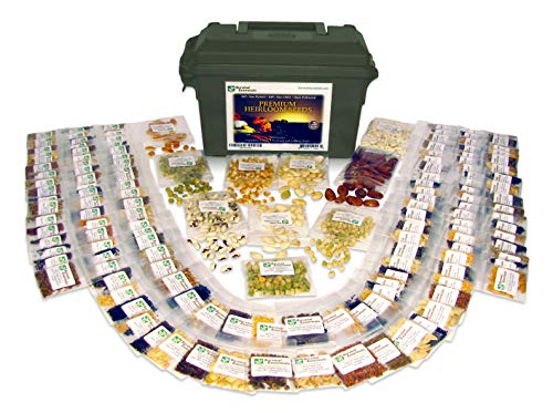 Survival Essentials 144 Variety Ultimate Heirloom Seed Vault for Survival and Preparedness - 23,335+ Non-GMO Heirloom Seeds Packed in Superior Ammo Can for Long-Term Storage and Maximum Shelf Life (Seed Vault)