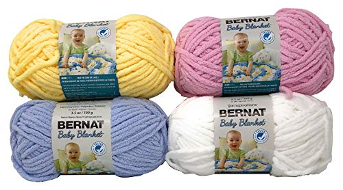 - Bernat Baby Blanket Yarn, 3.5 oz (72 yds), 4-PK Solid Color Bundle - White, Pink, Blue, and Yellow