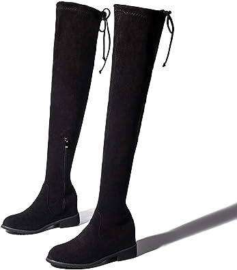 Skinny Calf Thigh High Black Boot Slim
