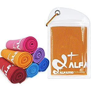 """Cooling Towel for Instant Relief - 40"""" Long As Scarf - XL Ultra Soft Breathable Mesh Yoga Towel - Keep Cool for Running Biking Hiking Golf & All Other Sports, Waterproof Bag Packaging with Carabiner"""