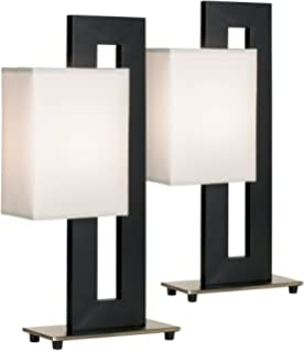 Black and brushed nickel floating square table lamp contemporary black floating square table lamp accent set of 2 mozeypictures Gallery