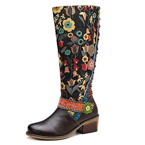 CrazycatZ Womens Bohemian Knee High Boots Leather Flat Long Bootie Splicing Pattern Tall Boots