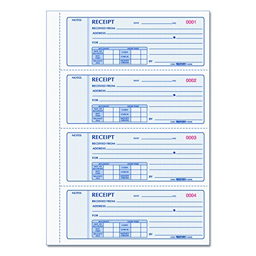 REDIFORM Money Receipt Books with Carbons, Triplicate, 4 Forms per Page, 200 Sets per Book (8K808) ()