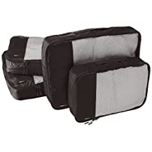 AmazonBasics 4-Piece Packing Cube Set - 2 Medium and 2 Large, Black