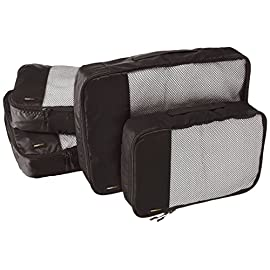 Amazon basics 4 piece packing travel organizer cubes set - 2 medium and 2 large 18 double zipper pulls make opening/closing simple and fast mesh top panel for easy identification of contents, and ventilation soft mesh won't damage delicate fabrics