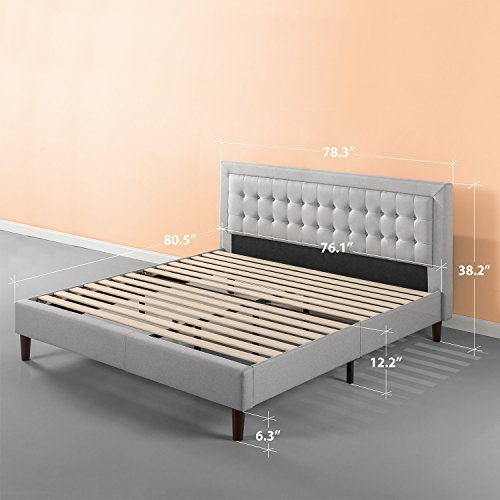 Zinus Upholstered Button Tufted Premium Platform Bed/Strong Wood Slat Support/Grey Sand, King