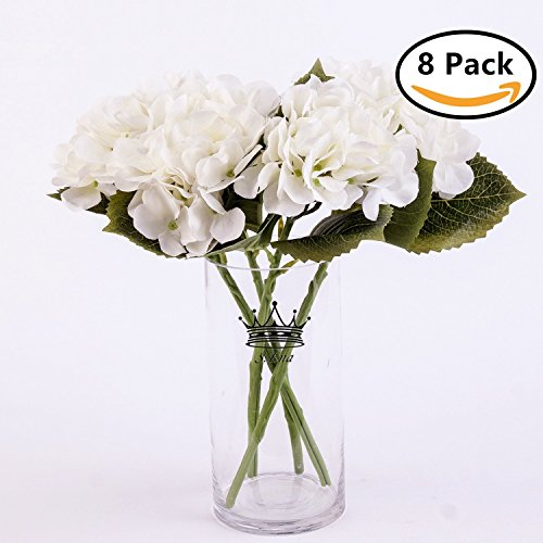 Stems White 6 (S.Ena 6 Branch 30 Heads Artificial Silk Fake Flowers Leaf Hydrangea Wedding Floral Home Decor Bouquet Birthday Party DIY, Pack of 8 (White))