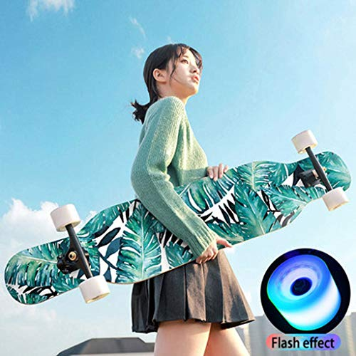 MSNDD Fashionable Youthful Cool Longboard with Flash Effect Youth and Male Adult Scooter Sports Essential Double-Sided Color Sand Long Board (Color : A)