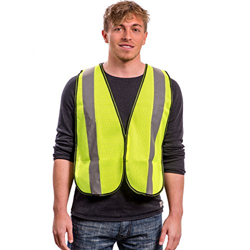 Safety Vest with High Visibility - 2 Inch Reflective Strips, Bright Neon Yellow, Breathable Polyester Mesh Fabric, ANSI ISEA Class Unrated, Hi Viz All Day and Night, One Size Fits Most (10 Pack) by Dasher Products (Image #6)
