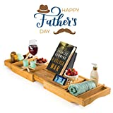 Bambusi Premium Bamboo Bathtub Tray - Natural Wood Luxury Bathtub Caddy Tray Extending Sides, Reading Rack, Tablet Holder, Cellphone Tray, Wine Glass Holder - Great Gift for Fathers Day