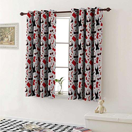 shenglv Fashion Customized Curtains Female Vamp Sexy Print with Underwears Bras and Little Hearts Artwork Curtains for Kitchen Windows W63 x L45 Inch Black White and Red