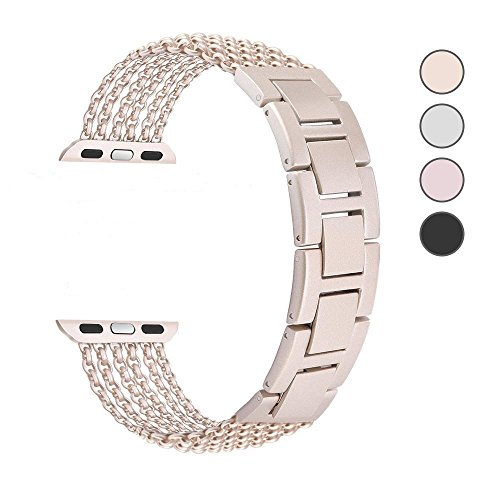 TUJUIO for Apple Watch Band 38mm/40mm 42mm/44mm Series 4/3/2/1 Sport and Edition Women Bracelet Adjustable Wristband iWatch Bracelet for Women/Girls (Champagne, 38mm/40mm) (Pics X Mia)