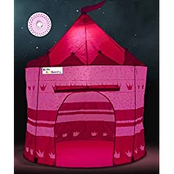 Pretty Princess Castle Play Tent Girls – Includes LED Lamp & Glow in The Dark Stars – Multipurpose Indoor/Outdoor Kids Tent Lit Playhouse – CPSIA Compliant