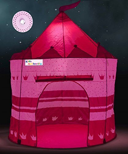 Pretty Princess Castle Play Tent for Girls – Includes LED Lamp & Glow in the Dark Stars – Multipurpose Indoor/Outdoor Kids Tent and Lit Playhouse – CPSIA Compliant
