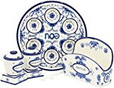 Passover Seder Plate for Pesach Food Ceramic 12'' Blue & White Delft Look (Complete Passover Set)