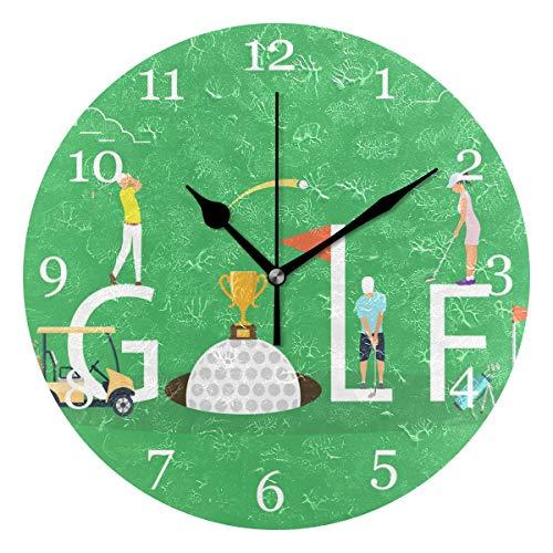 Club Golf Clock - KUWT Sport Ball Golf Club Wall Clock Silent Non-Ticking 9.5 Inch Round Clock Acrylic Art Painting Home Office School Decor