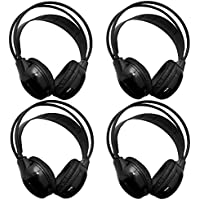 [4 Pack] AUTOTAIN Car Headrest Audio Universal Wireless IR 2 Channel Headphones for Kids in Car For DVD TV Monitor Infrared Folding Adjustable Headset