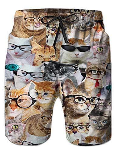 RAISEVERN Mens Funny Cats 3D Print Summer Boardshorts Mesh Lining Quick Dry Beach Shorts Side Pockets Athletic Swim Trunks