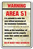 Warning Area 51 Novelty Sign | Indoor/Outdoor | Funny Home Décor for Garages, Living Rooms, Bedroom, Offices | SignMission Gift Spaceship Aliens Outer Space Moon Spacecraft Sign Wall Plaque Decoration