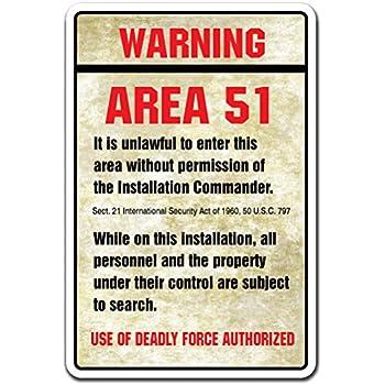 Warning Area 51 Novelty Sign   Indoor Outdoor   Funny Home D cor for  Garages. Amazon com  Door Knockers Please Note Novelty Sign   Indoor