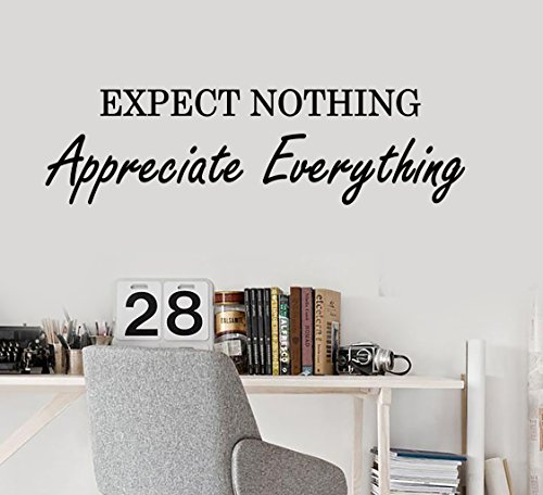 Vinyl Wall Decal Motivation Inspiring Success Quote Words Expect Nothing Appreciate Everything Stickers 2003Ig  22 5 In X 6 In