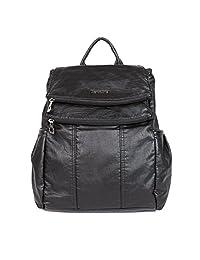 21KBARCELONA High Quality Washed PU Leather Backpack Handbag Women K15311
