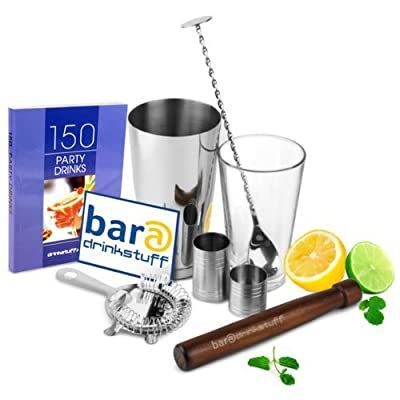 Home Cocktail Set by bar@drinkstuff | Cocktail Kit in Recyclable Gift Box with Boston Cocktail Shaker Tin & Glass, Cocktail Book, Cocktail Strainer, Muddler, Mixing Spoon, 25ml & 50ml Bar Measure