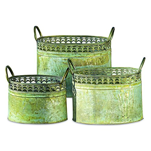 WHW Whole House Worlds Grand Tour Galvanized Zinc Planters, Palmetto Lace Pattern, Ovals, Carry Handles, Distressed Green and Rusty Patina, Various Sizes from 13 to 9 1/2 Inches ()