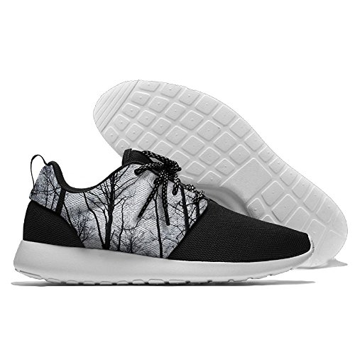 Crémaillère Mens Forêt Noire Respirant Maille Loisirs Chaussures De Sport Impression Semelle Souple Sport Chaussures De Course