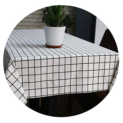 Be fearless Stylish Linen Tablecloth Country Style Plaid Print Multifunctional Rectangle Table Cover Tablecloth Home Kitchen Decoration,White,70 cm 0 cm -