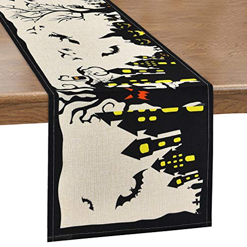 Alishomtll Happy Halloween Table Runner Pumpkin and Bats Table Runner, Haunted House Table Runner Witch Grave Table Runner for Scary Movie Nights, Dinner Parties, 14 x 70 inches ()