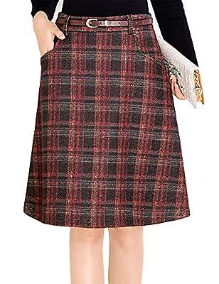 IDEALSANXUN Women's A-line Plaid Wool Slim Knee Skirt