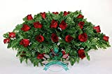 Beautiful Classic Red Roses Cemetery Tombstone Saddle Arrangement