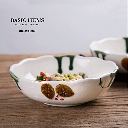 7.8inches Ceramic Soup Plate Dish Bowl Dessert Plate Deep Round Soup Bowl Fruit Plate Dessert Plate Deep Bowl Deep Dish Household Plate ( Color : Bamboo )