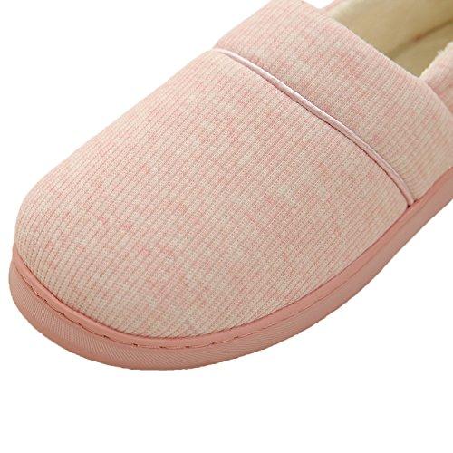 Bestfur Womens Bomull Mjuk Sula Tvätthalkbekämpnings Mysigt Hus Skor Tofflor Pink-1