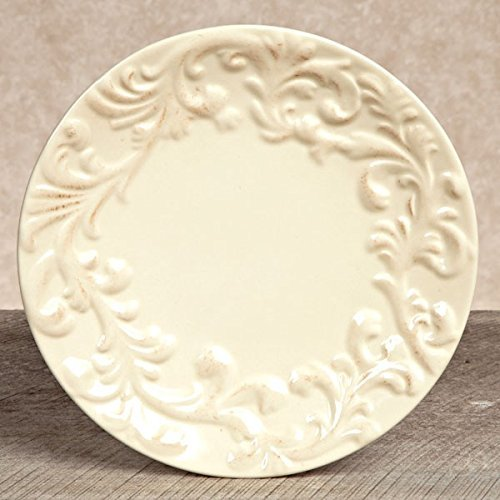 Ceramic Cream Dinner Plates Set of 4 - ChristmasTablescapeDecor.com