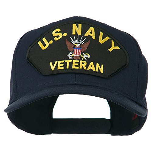 E4hats US Navy Veteran Military Patched High Profile Cap - Navy OSFM (Military Cap Veteran)