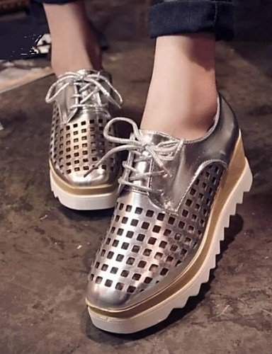silver cn35 5 uk3 Blanco uk3 Negro Tul us6 uk4 Punta Plata Zapatos Casual 5 Cerrada eu36 5 us5 black 5 mujer cn35 us5 ZQ de Plataforma Oxfords eu36 black cn36 eu36 xvag1F