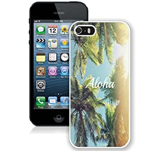 Fashion Custom Designed Cover Case For iPhone 5S Phone Case With Aloha Palm Trees_White Phone Case
