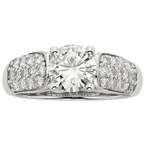 Forever Brilliant White Gold Round 7.0mm Moissanite Ring - size 6, 1.72cttw DEW By Charles & Colvard by Charles & Colvard (Image #4)