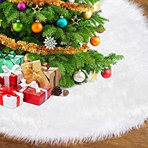 Gonna Bianca in Peluche per Albero di Natalelusso Pelliccia Sintetica Gonna per Albero, Decorazioni Natalizie Utilizzate per Coprire Il Fondo di Un Albero di Natale (Diametro: 120cm) 4 spesavip