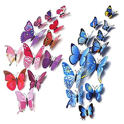 Nafico 24 Pieces 3D Butterfly Stickers Removable Mural Wall Stickers Art Decro for Home Living Room (Cheap Butterfly Stuff)